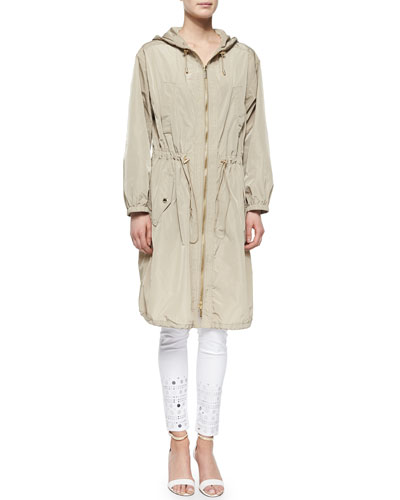 Long Tech Drawstring Anorak & Mirror Eyelet Skinny Jeans