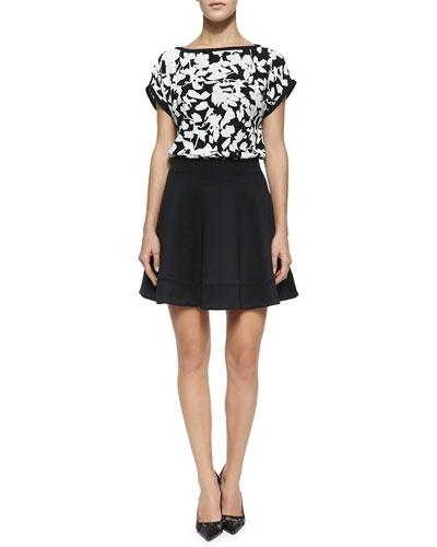 leafy floral cap sleeve top & scuba circle skirt