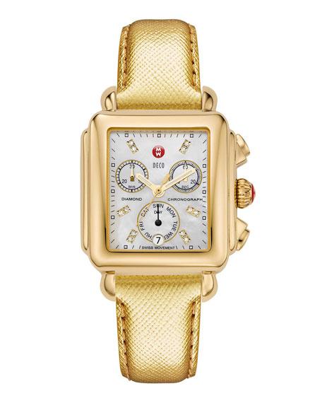 MICHELE 18mm Deco Gold, Diamond Dial Watch Head