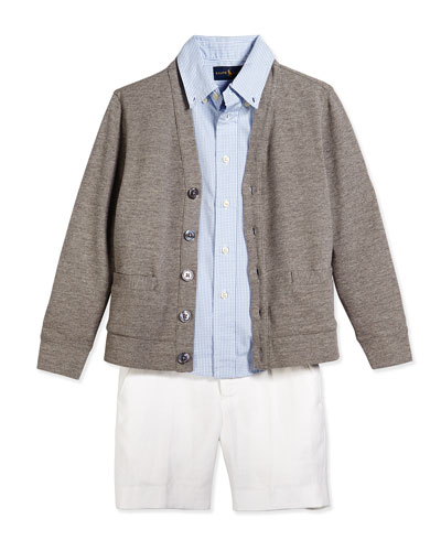 Long-Sleeve Knit Cardigan, Blake Gingham Poplin Shirt & Chevron-Knit Linen Preppy Shorts