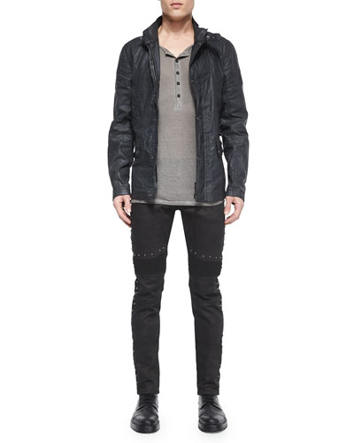 Gladstone Coated Zip-Up Jacket, Chirton Long-Sleeve Henley Shirt & Eastham Studded Slim Stretch Jeans