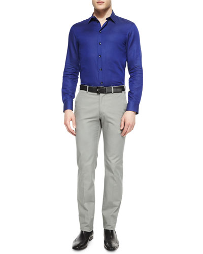 Tonal-Dot Woven Sport Shirt & Stretch-Cotton Flat Front Trousers