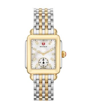 c5503222d MICHELE 16mm Deco Two-Tone, Diamond Dial Watch Head 16mm New Deco Bracelet  Strap