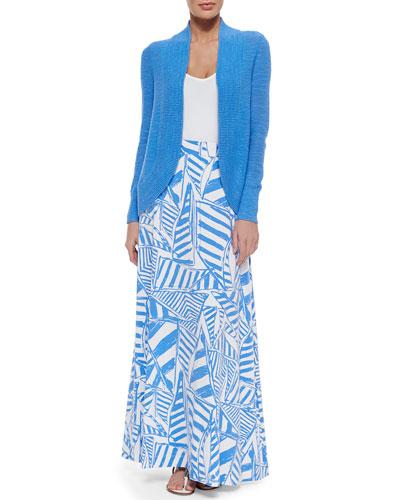 Amalie Long-Sleeve Open Cardigan, Tabbie Tank W/ Tonal Logo & Nola Printed Maxi Skirt
