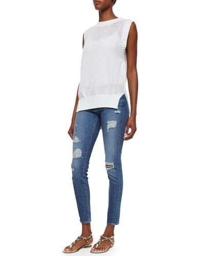 Muscle Tank Rib-Trim Sweater & Le Skinny De Jeanne Jeans