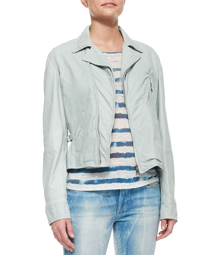 Corrina Tumbled Leather Moto Jacket & Whitney Tie Dye Striped Tee