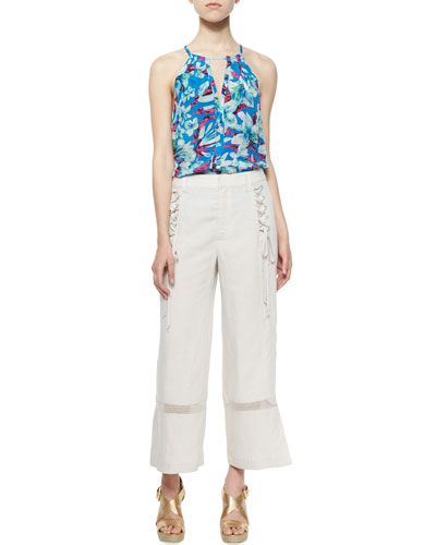 Lily Sleeveless Halter Top & Venzuela Lace-Up Capri Pants