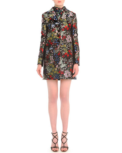 Garden-Print Brocade Peacoat & Tie-Neck Garden-Print Dress