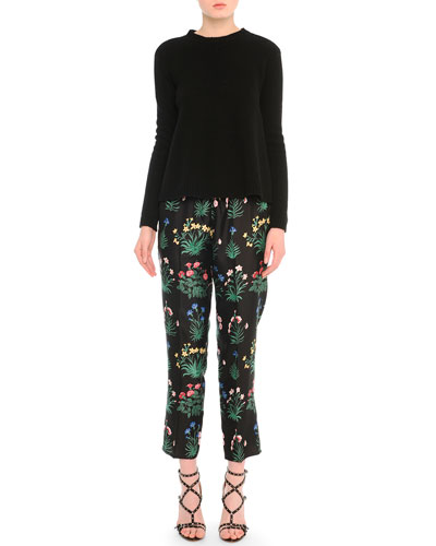 Cashmere Knit Crewneck Sweater & Bouquet-Print Cropped Jogging Pants