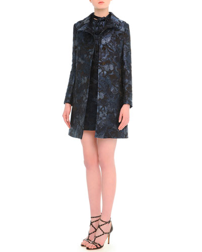 Butterfly-Print Brocade Button Coat & Butterfly-Print Tie-Neck Dress