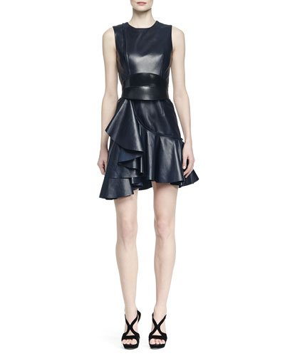 Napa Leather Ruffled Dress & No-Buckle Leather Waist Belt