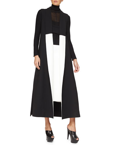 Sleeveless Two-Tone Crepe Coat, Linear-Ridge Knit Turtleneck Sweater & Scuba Crepe Faux-Wrap Skirt