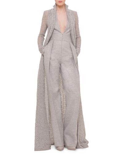 Embroidered Tulle Long Coat & Deep V-Neck Wide-Leg Jumpsuit