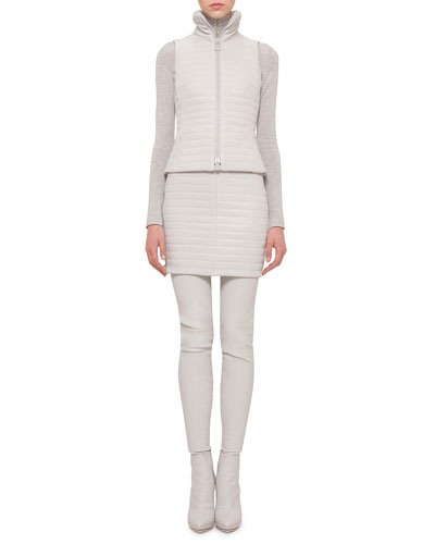 Quilted Napa Zip Gilet, Cashmere-Silk Knit Pullover Top & Quilted Leather Mini Skirt
