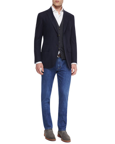 Gingham Two-Button Silk Sport Coat, High-Performance Wool Vest, Mesh-Knit Long-Sleeve Sport Shirt & Slim Fit Stretch-Denim Jeans