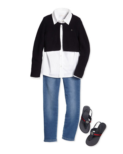 Stretch-Knit Bolero, Poplin Shirt, Terry-Lined Denim Jeans & Poppy Junior Leather Sandal