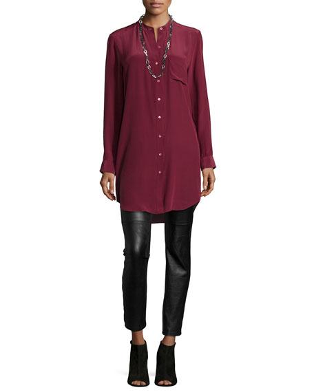 Eileen Fisher Long-Sleeve Silk Tunic/Shirt, Petite