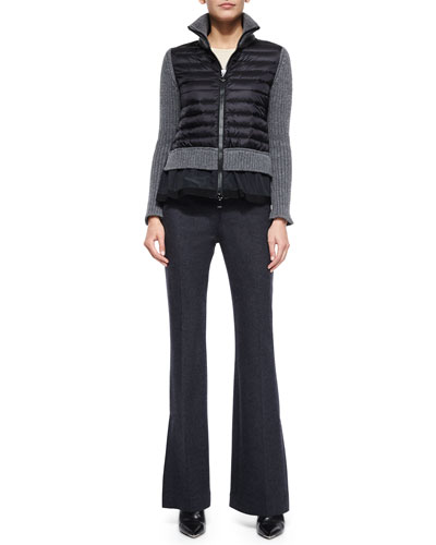Zip Cardigan with Peplum Hem & Full-Leg Flannel Pants