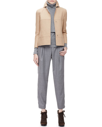Boxy Wool-Blend Snap Jacket, Chain-Knit Turtleneck Collar Dickey, Gathered Pleated Jersey Top & Smocked-Cuff Pleated Ankle Pants