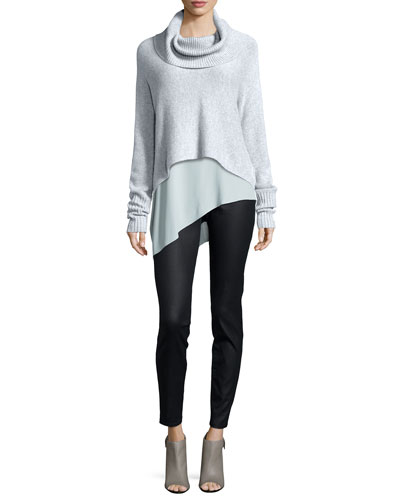 Lofty Cashmere Cowl-Neck Box Top, Silk Asymmetric Draped Shell & Coated Stretch Denim Leggings