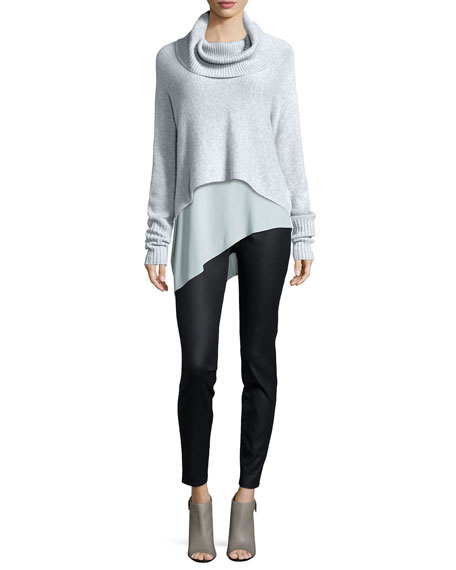 Eileen Fisher Lofty Cashmere Cowl-Neck Box Top