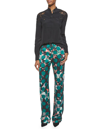 Cutout-Shoulder Silk Button-Front Blouse & Printed Silk Pajama Pants