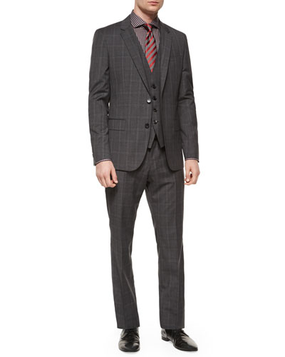 Slim-Fit Plaid Three-Piece Suit, Jaser Slim-Fit Check Dress Shirt & Diagonal-Stripe Silk Tie