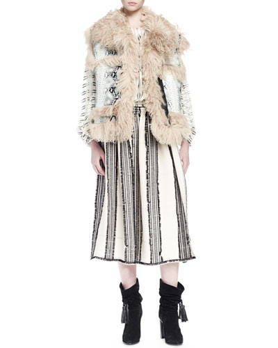 Python Printed Leather Vest with Shearling Fur Trim, Long-Sleeve Printed Silk Blouse & Striped A-Line Skirt with Frayed Edging