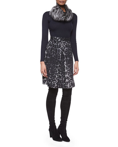 Lightweight Textured Knit Sweater, Stamped Leopard Felted A-Line Skirt & Accessories