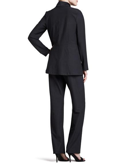 Long Washable Crepe Shawl-Collar Jacket, Plus Size