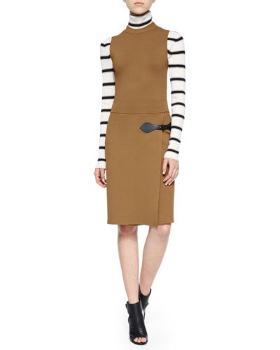 Ollie Striped Turtleneck Sweater & Ryan Sleeveless Wrap-Skirt Dress