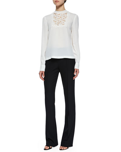 Bond Floral Lace Silk Top & Joseph Twill Boot-Cut Pants