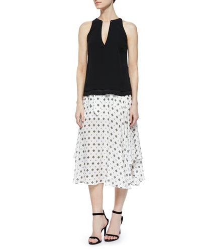 Keaton Sleeveless Satin Top & Leto Silk Medallion-Print Skirt