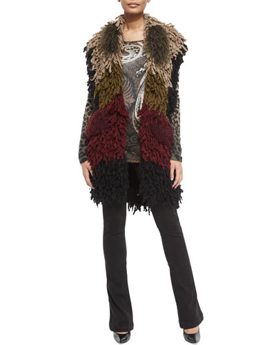 Colorblock Twisted Weave/Fur Vest, Leopard-Print Gauze Sweater & Lace-Up Front Denim Flared Jeans