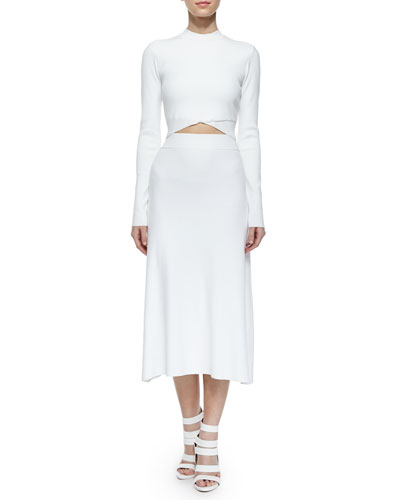 A L C Clothing Line A Line Midi Skirt White
