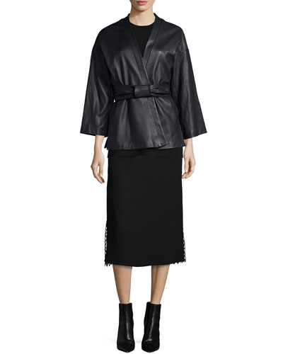 Belted Leather Kimono Jacket, Side-Slit Crewneck Tunic & Lace-Insert Midi Skirt