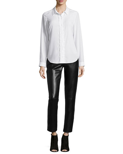 Bagatelle NYDJ Fit Solution Ruffle Blouse & Leather