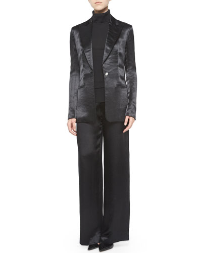 Ibner Satin Tuxedo Jacket, Sabina Tissue Turtleneck & Misa Satin Wide-Leg Pants