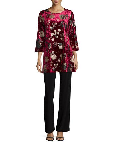 Caroline Rose 3/4-Sleeve Panne Velvet Tunic W/ Shimmer