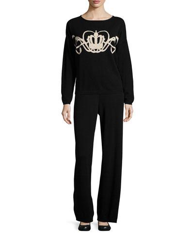 Crown Intarsia Wool-Cashmere Sweater & Wool-Cashmere Wide-Leg Pants, Petite