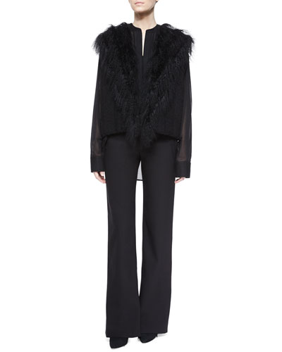 Fur-Trim Knit Vest, Poet Sheer Long-Sleeve Blouse & Full-Length Dress Pants