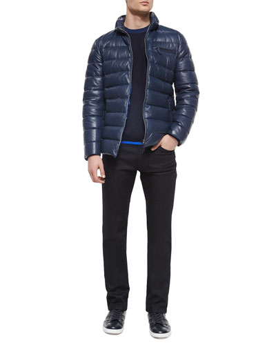 Leather Zip-Up Puffer Jacket, Colorblock Wool-Blend Sweater & Five-Pocket Slim-Fit Stretch Jeans