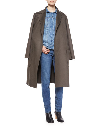 Double-Face Coat, Denim Jacket, Split-Sleeve Pocket Tee & Light Distressed Relaxed Jeans