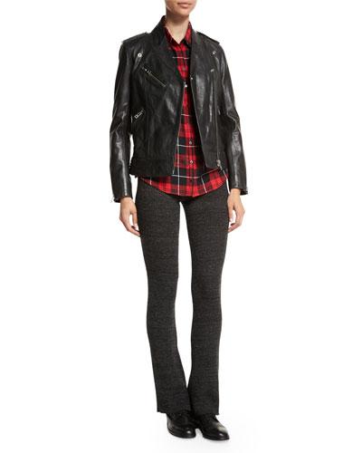 Loon Stars Leather Jacket, Tessy Printed Plaid Shirt & Step Boot-Cut Knit Pants
