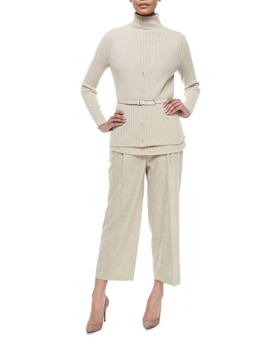 Ribbed Cashmere V-Neck Cardigan, Mock Ribbed Cashmere Sweater, Skinny Croco Belt & Cropped Straight-Leg Pants
