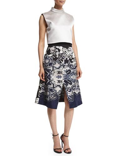 Sleeveless Satin Crop Top & Silk Multipattern Wrap Skirt