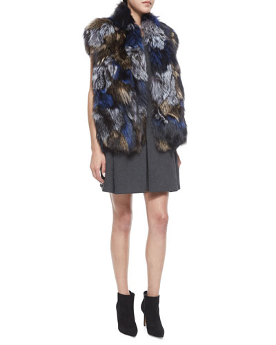 Patchwork Fox Fur Vest & Pleated V-Neck Knit Dress