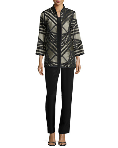 Jacquard Jacket with Graphic Silk Trim, Long Silk Crepe Tank & Silk Crepe Straight-Leg Pants, Petite