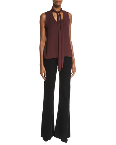 Giovanna Sleeveless Neck-Tie Blouse & Flare-Leg Corded-Velvet Pants