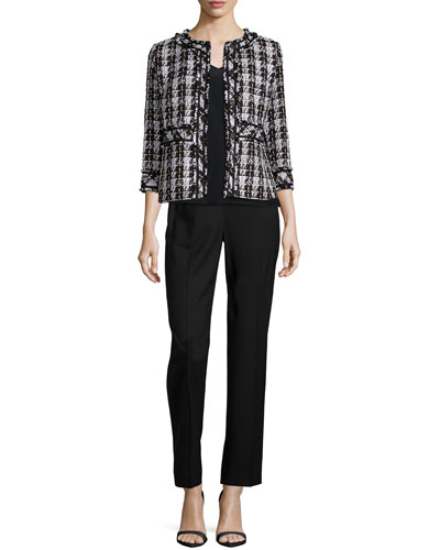 Reagan Tweed Snap-Front Jacket, V-Neck Silk Charmeuse Tank & Front-Zip Straight-Leg Pants